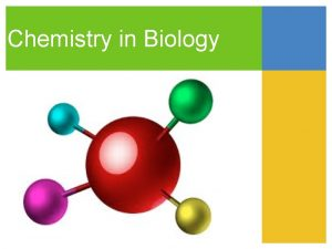 Chemistry in Biology The Big Idea Atoms are