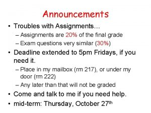 Announcements Troubles with Assignments Assignments are 20 of