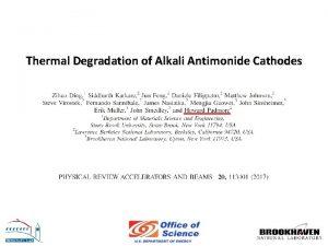 Thermal Degradation of Alkali Antimonide Cathodes APEX Photoinjector