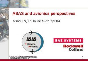 ASAS and avionics perspectives ASAS TN Toulouse 19