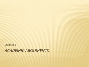 Chapter 6 ACADEMIC ARGUMENTS ACADEMIC ARGUMENTS Writing addressed