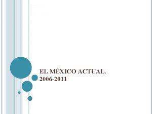 EL MXICO ACTUAL 2006 2011 EL MXICO ACTUAL