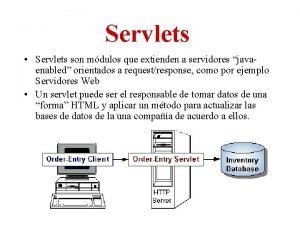 Servlets Servlets son mdulos que extienden a servidores