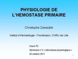 PHYSIOLOGIE DE LHEMOSTASE PRIMAIRE Christophe Zawadzki Institut dHmatologie