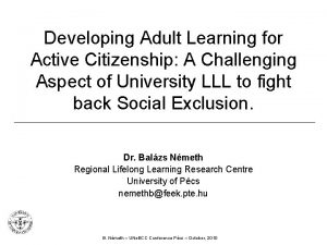 Developing Adult Learning for Active Citizenship A Challenging