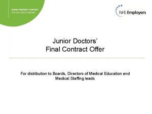 Junior doctors contract The new 2016 contract Junior