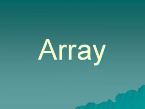 Array One Dimension Array Array Type Arrayname new