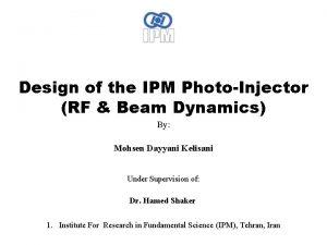 Design of the IPM PhotoInjector RF Beam Dynamics
