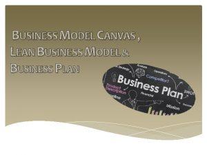 BUSINESS MODEL CANVAS LEAN BUSINESS MODEL BUSINESS PLAN