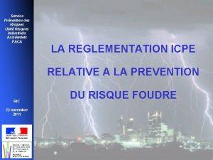 Service Prvention des Risques Unit Risques Industriels Accidentels