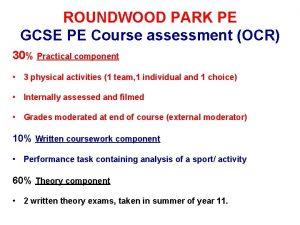ROUNDWOOD PARK PE GCSE PE Course assessment OCR