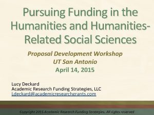 Pursuing Funding in the Humanities and Humanities Related