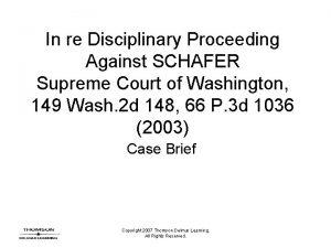 In re Disciplinary Proceeding Against SCHAFER Supreme Court
