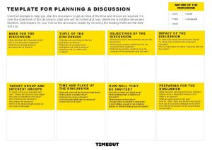 TEMPLATE FOR PLANNING A DISCUSSION Use the template