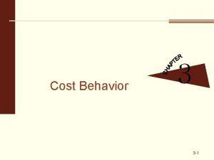 Cost Behavior 3 3 1 Basics of Cost