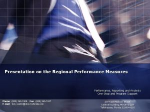 Presentation on the Regional Performance Measures Performance Reporting