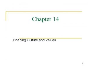 Chapter 14 Shaping Culture and Values 1 Culture