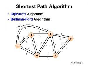 Shortest Path Algorithm Dijkstras Algorithm BellmanFord Algorithm 8