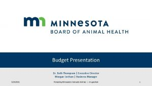 Budget Presentation Dr Beth Thompson Executive Director Morgan