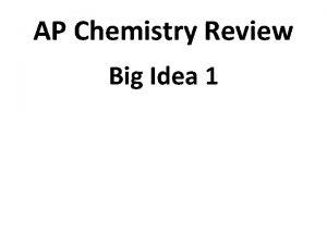AP Chemistry Review Big Idea 1 Big Idea
