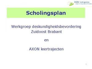 Scholingsplan Werkgroep deskundigheidsbevordering Zuidoost Brabant en AXON leertrajecten
