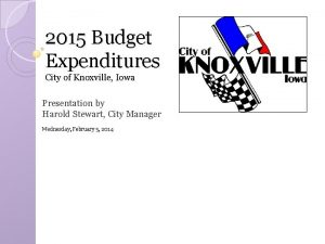 2015 Budget Expenditures City of Knoxville Iowa Presentation