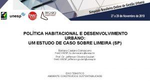 III SIBOGU Simpsio Brasileiro Online de Gesto Urbana