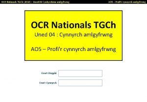 OCR Nationals TGCh 2010 Uned 04 Cynhyrchion amlgyfrwng
