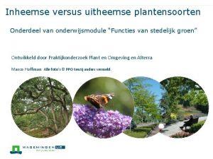 Inheemse versus uitheemse plantensoorten Onderdeel van onderwijsmodule Functies