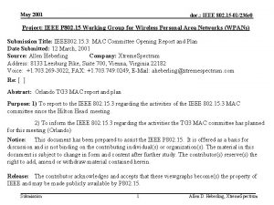 May 2001 doc IEEE 802 15 01236 r