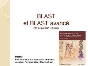 BLAST et BLAST avanc J S BernardesH Richard