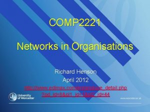 COMP 2221 Networks in Organisations Richard Henson April