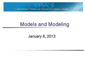 Models and Modeling January 8 2013 Models Models