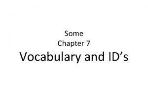 Some Chapter 7 Vocabulary and IDs patronage A