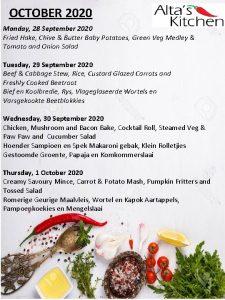 OCTOBER 2020 Monday 28 September 2020 Fried Hake
