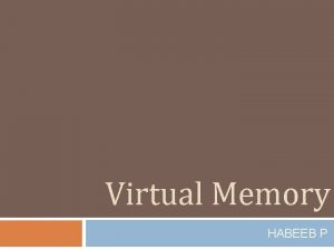 Virtual Memory HABEEB P Virtual Memory 2 Memory