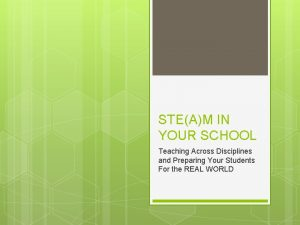 STEAM IN YOUR SCHOOL Teaching Across Disciplines and