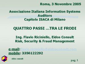 Roma 3 Novembre 2005 Associazione Italiana Information Systems