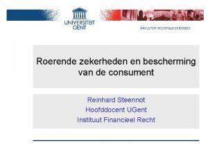 Roerende zekerheden en bescherming van de consument Reinhard