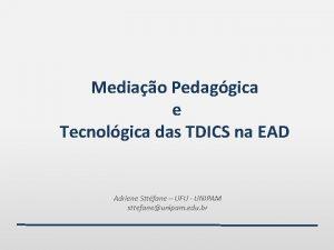 Mediao Pedaggica e Tecnolgica das TDICS na EAD