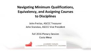 Navigating Minimum Qualifications Equivalency and Assigning Courses to