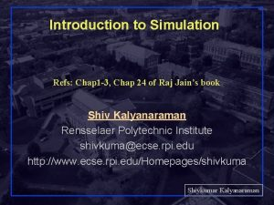 Introduction to Simulation Refs Chap 1 3 Chap