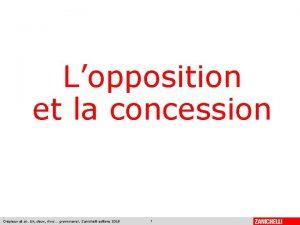 Lopposition et la concession Crpieux et al Un