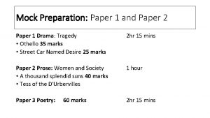 Mock Preparation Paper 1 and Paper 2 Paper