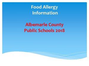 Food Allergy Information Albemarle County Public Schools 2018