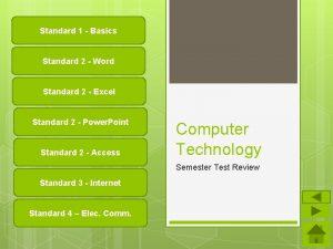 Standard 1 Basics Standard 2 Word Standard 2