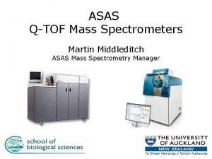 ASAS QTOF Mass Spectrometers Martin Middleditch ASAS Mass