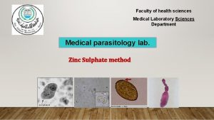 Faculty of health sciences Medical Laboratory Sciences Department