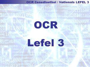 OCR Cenedlaethol Nationals LEFEL 3 OCR Lefel 3
