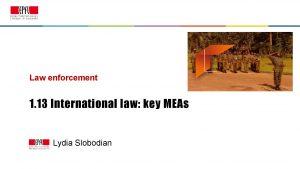 Law enforcement 1 13 International law key MEAs